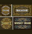 set 4 vintage label whiskey label style vector image vector image