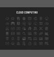 Set flat line icons cloud service
