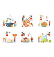 set of oversize dish and mini people characters vector image vector image
