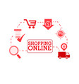 shopping online shop red icon background im vector image