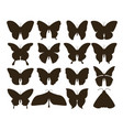 silhouette butterflies simple collection of hand vector image