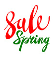 Spring sale green red elements labels and badges vector image vector image
