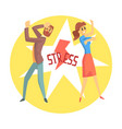 stressed man and woman colorful cartoon character vector image vector image