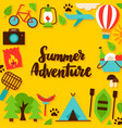 summer adventure lettering postcard vector image vector image