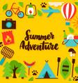 summer adventure lettering postcard vector image