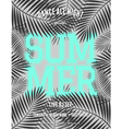 summer party palm leaves neon blue text flyer vector image