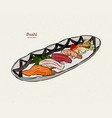 sushi nigiri set hand draw sketch vector image