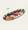 sushi nigiri set hand draw sketch vector image vector image