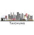 taichung taiwan city skyline with gray buildings vector image