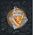 the seafood pizza slice with background vector image vector image