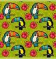 toucan and hibiscus tropical green seamless vector image vector image