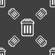 trash icon sign Seamless pattern on a gray vector image vector image