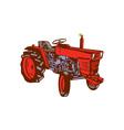 Vintage Farm Tractor Side Woodcut vector image vector image