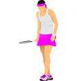 woman tennis player colored for designers vector image