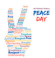 world peace day design of hand sign for freedom vector image
