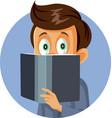 young boy reading a book vector image
