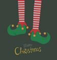 elf legs christmas greeting card vector image