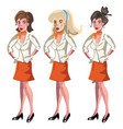 set of 3 stewardesses dressed in uniform vector image