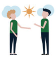 a guy and a girl are admiring the sunny day vector image