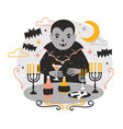 adorable dracula or funny vampire standing at vector image