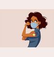 african woman showing vaccinated arm vector image vector image