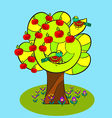 apple tree and birds vector image