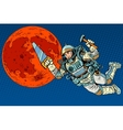 Astronaut with tools for building a colony on Mars vector image