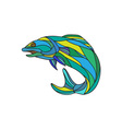 Atlantic Salmon Jumping Drawing vector image