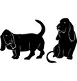 basset hound dog silhouette vector image