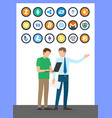 bitcoin currencies set and working people vector image vector image