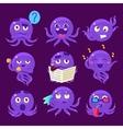 Blue Octopus Emoji Set vector image vector image