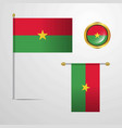 burkina faso waving flag design with badge vector image vector image