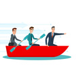 Businessmen workers rowing oars in boat and vector image
