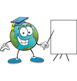 Cartoon Earth with Sign vector image vector image