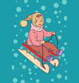 child on a sled winter holiday vector image vector image