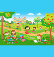 children playing on the grass in the park before vector image vector image