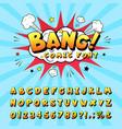 comic book alphabet retro cartoon book vector image