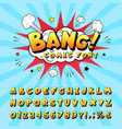 comic book alphabet retro cartoon comic book vector image
