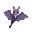 cute purple bat with outstretched wings funny vector image vector image