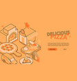 delicious pizza - line design style isometric web vector image vector image