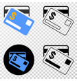 dollar bank cards eps icon with contour vector image