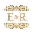 e and r vintage initials logo symbol vector image vector image