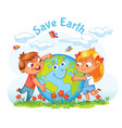 earth day boy and girl hugging the globe vector image vector image