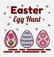 easter egg hunt theme flat icons of three colored vector image vector image