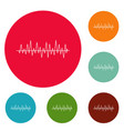 equalizer beat icons circle set vector image vector image
