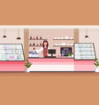 female barista coffee shop owner smiling woman vector image vector image
