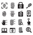 finger print security system icons set vector image vector image