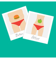 From fat to skinny woman Healthy unhealthy food vector image