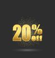 gold sale 20 percent golden sale 20 percent on vector image vector image