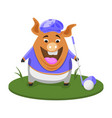 golf day a pig lines up a golf shot vector image vector image